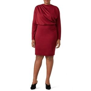 Alexia Admor Burgundy Draped Sheath 2X Long Sleeve